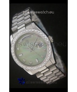 Rolex Day Date Just swiss Replica Watch in Light Green Dial