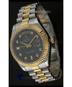 Rolex Day Date Just JapaneseReplica Two Tone Gold Watch in Mop Grey Dial
