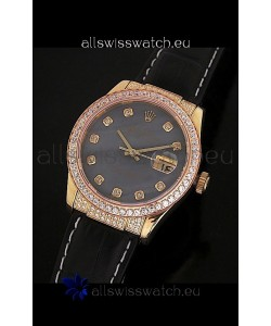 Rolex DateJust Japanese Mens Replica Yellow Gold Watch in Colorful Mother of Pearl Dial