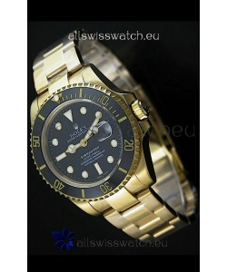 RolexSubmariner Japanese Gold Watch in Black Dial with Ceramic Bezel