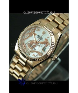 Rolex Oyster Perpetual Date Just Lady Swiss Rose Gold Watch in Pearl White Dial