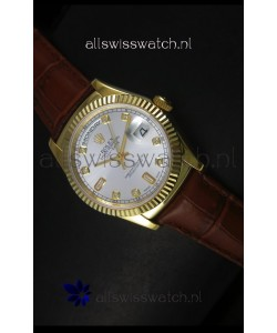 Rolex Day Date 36MM Yellow Gold Swiss Replica Watch - Silver Dial
