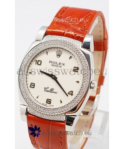 Rolex Cellini Cestello Ladies Swiss Watch in White Face Bezel and Lugs